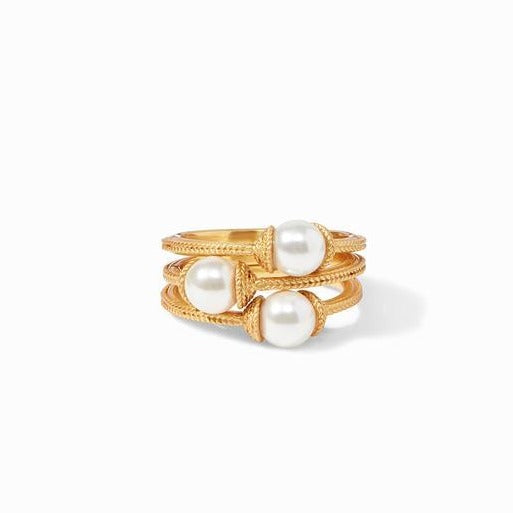 Julie Vos Calypso Pearl Stacking Ring Set
