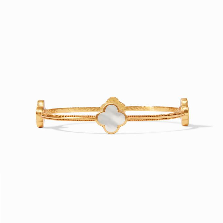 Julie Vos Chloe Medium Gold Bangle, Pearl