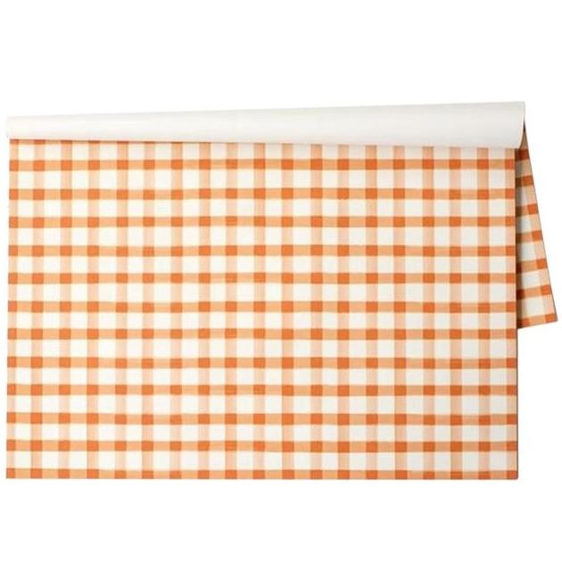 Orange Painted Check Paper Placemats - Set of 30