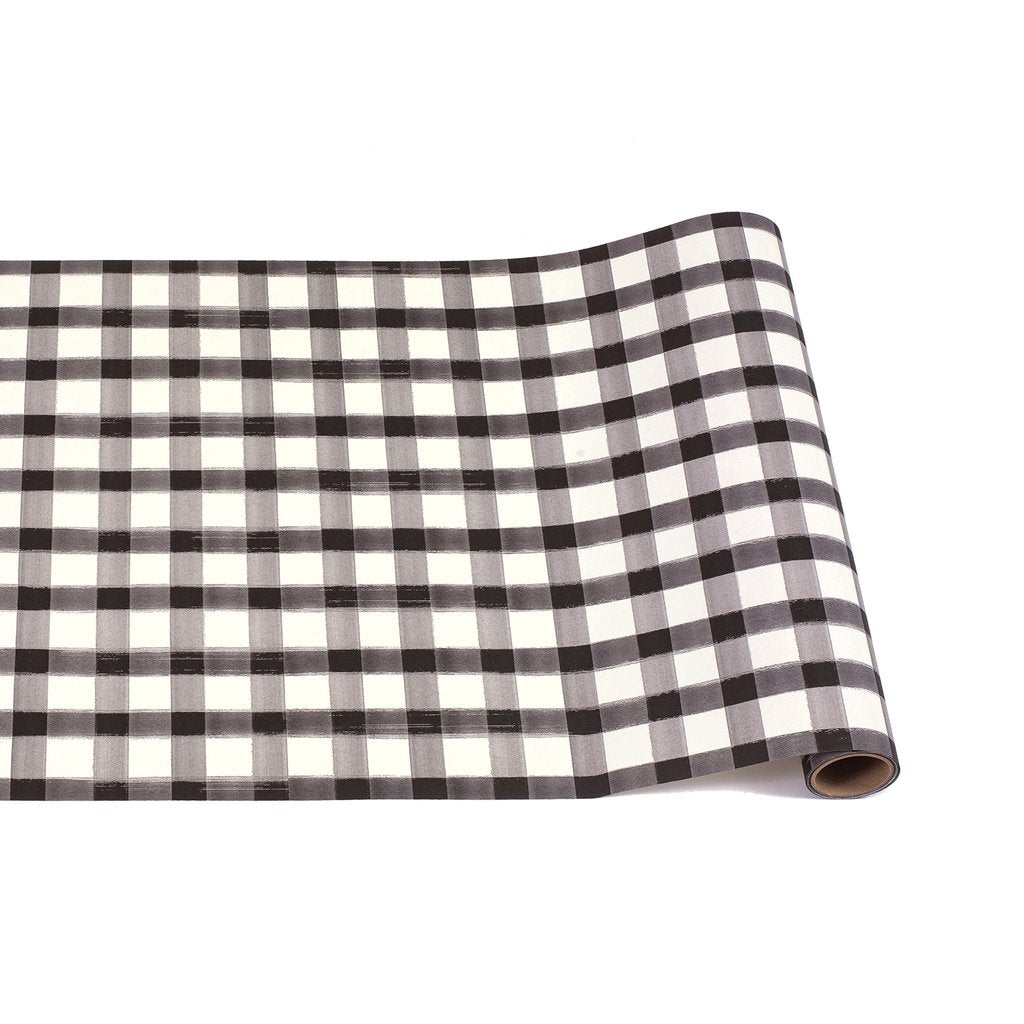 Black Painted Check Table Runner