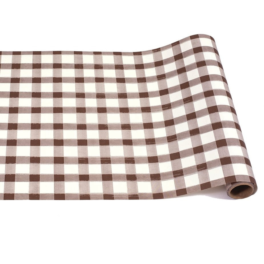 Brown Painted Check Paper Table Runner
