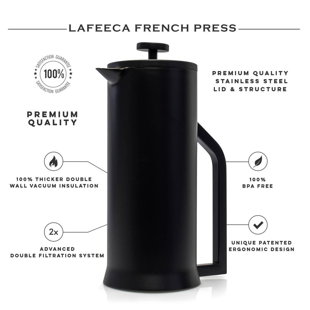 Stainless Steel French Press Coffee Maker 34oz, Stainless Steel