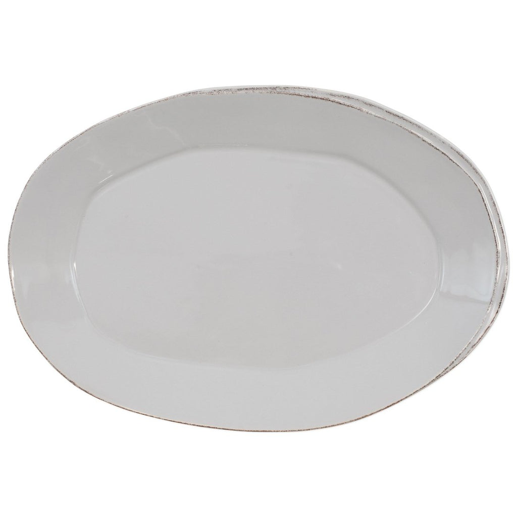 VIETRI Lastra Oval Platter, Light Gray