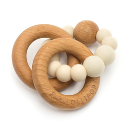 Two Bubble Wood And Silicone Rattle, Beige