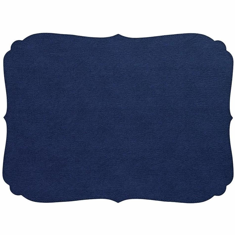 Navy Curly Oblong Washable Placemat