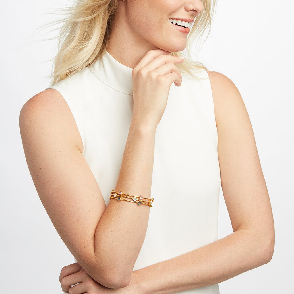 Julie Vos Milano Bangle Gold Iridescent Clear Crystal