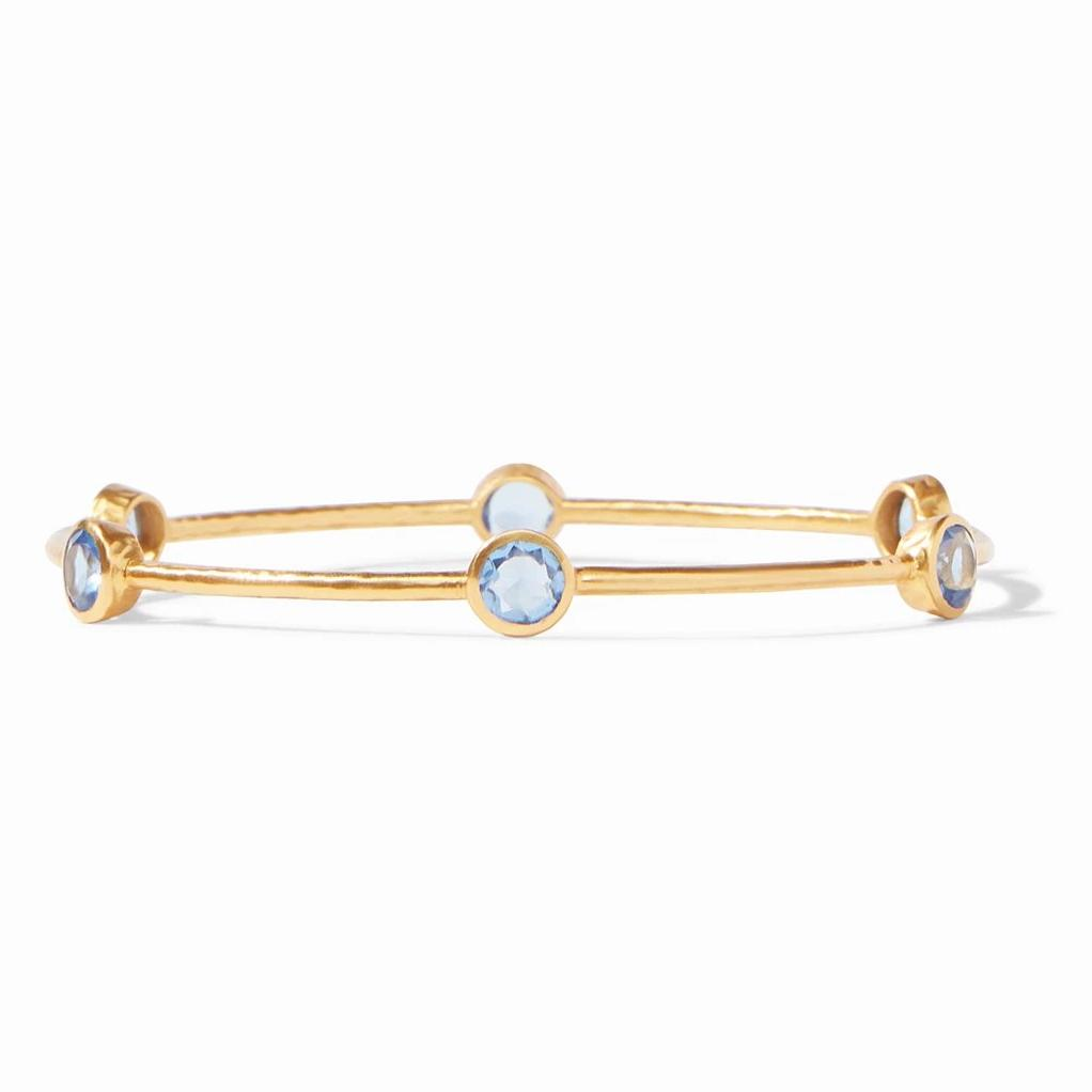 Julie Vos Milano Bangle Gold Iridescent Chalcedony Blue