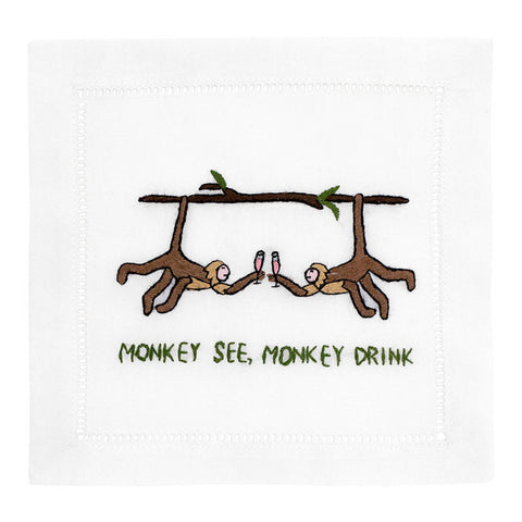 """Monkey See, Monkey Drink"" Cocktail Napkin Set - Waiting On Martha"