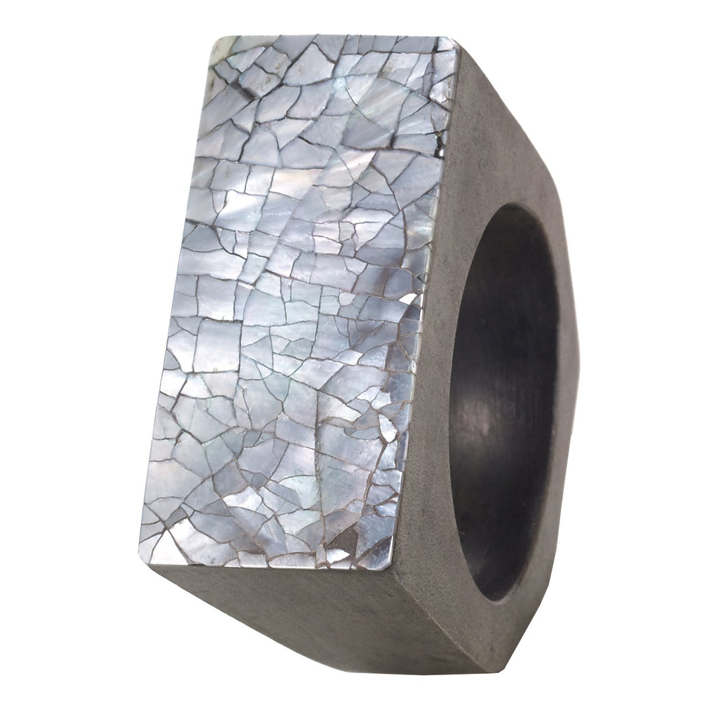 Gray Cracked Shell Napkin Ring