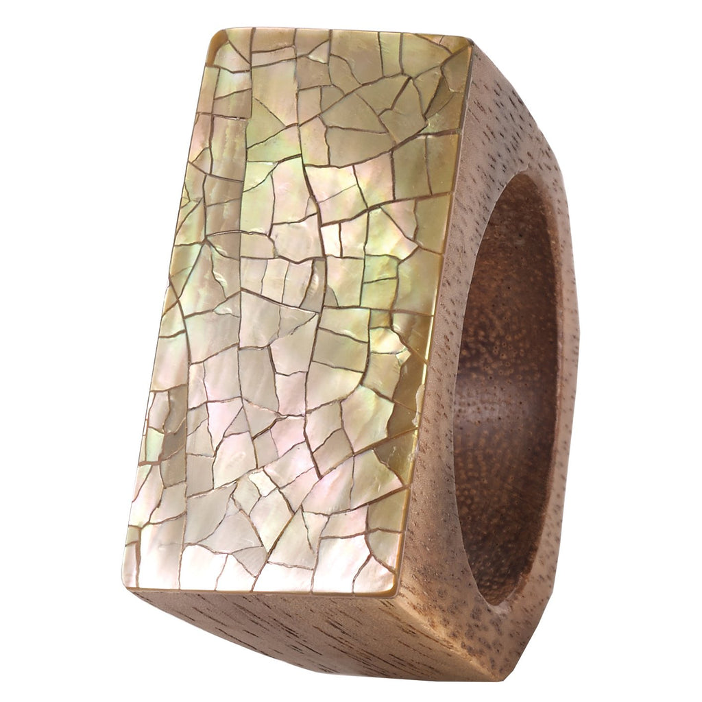 Champagne Cracked Shell Napkin Ring