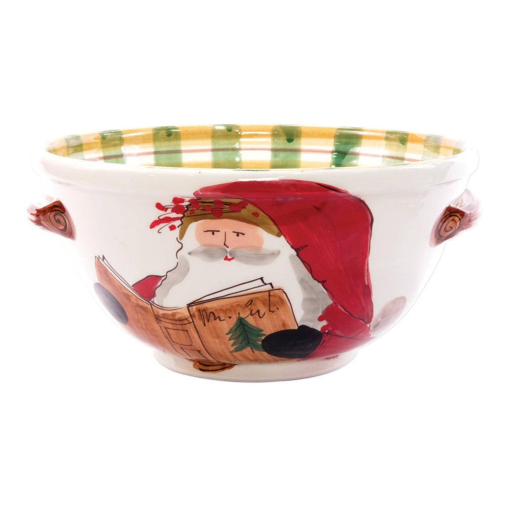 Old St. Nick Medium Handled Bowl with Santa Reading