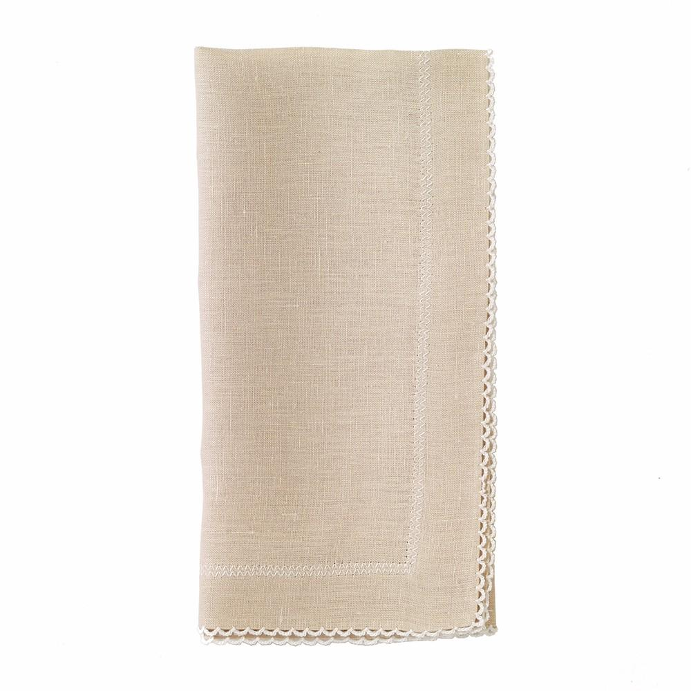Picot Oatmeal/White Dinner Napkin