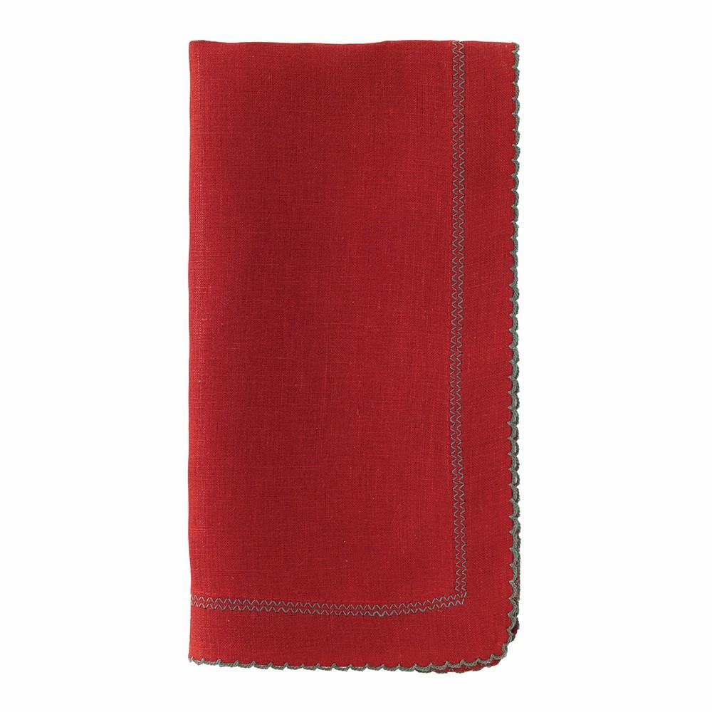 Red & Evergreen Picot Dinner Napkins