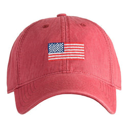 American Flag Needlepoint Hat - Weathered Red - Waiting On Martha - 1