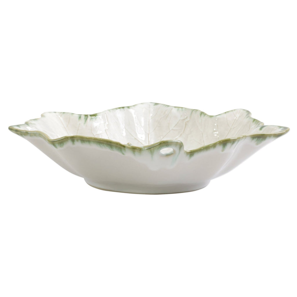 VIETRI Foglia Stone Large Serving Bowl, White