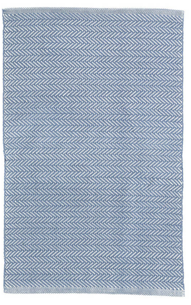 Dash & Albert Herringbone Denim & White Indoor/Outdoor Rug