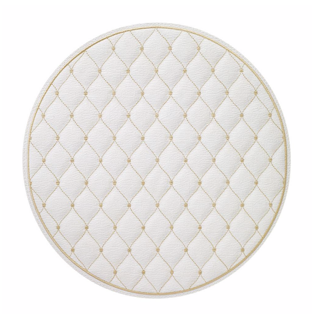 Quilted Diamond Ivory Placemat with Gold Stitching