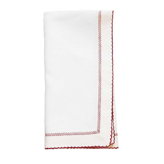 White & Red Picot Dinner Napkins