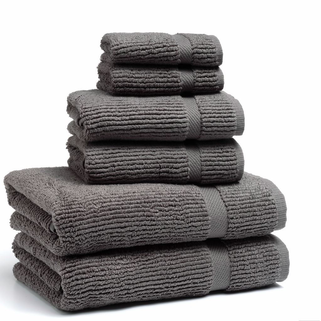 Mateo Ribbed Concrete Grey Hand Towel