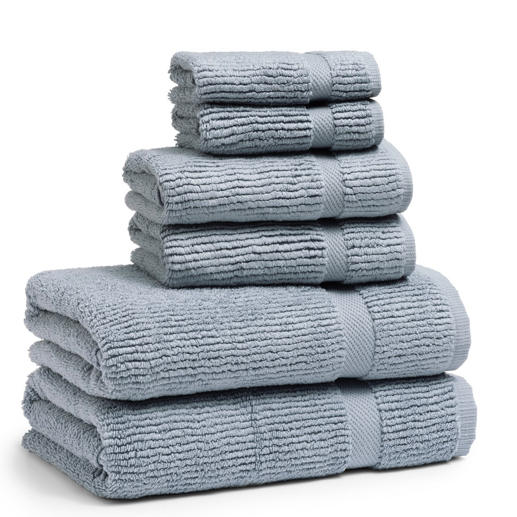 Mateo Ribbed Water Blue Hand Towel