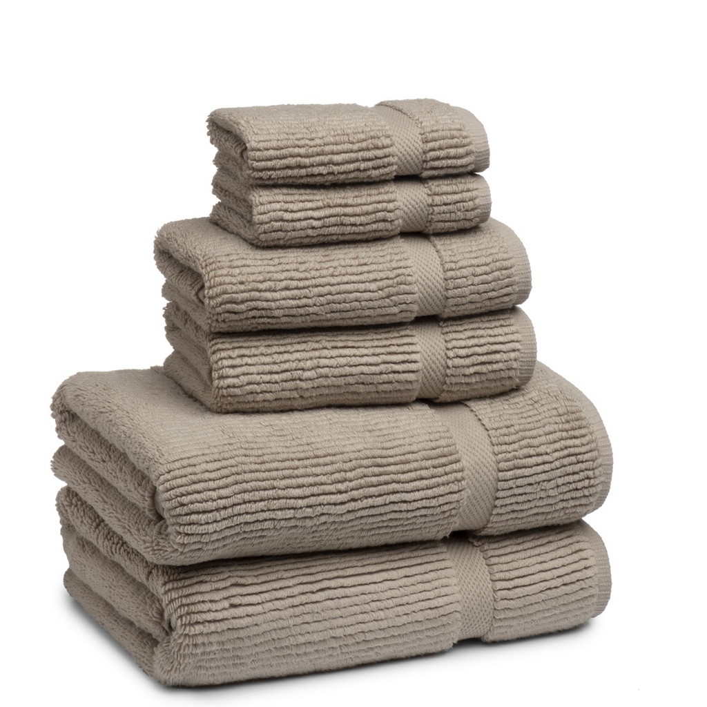 Mateo Ribbed Concrete Marble Tan Washcloth