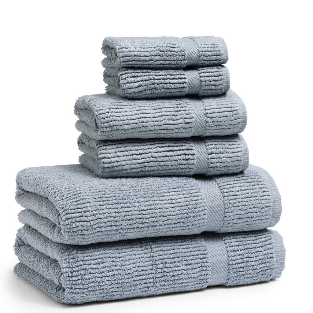 Mateo Ribbed Water Blue Washcloth