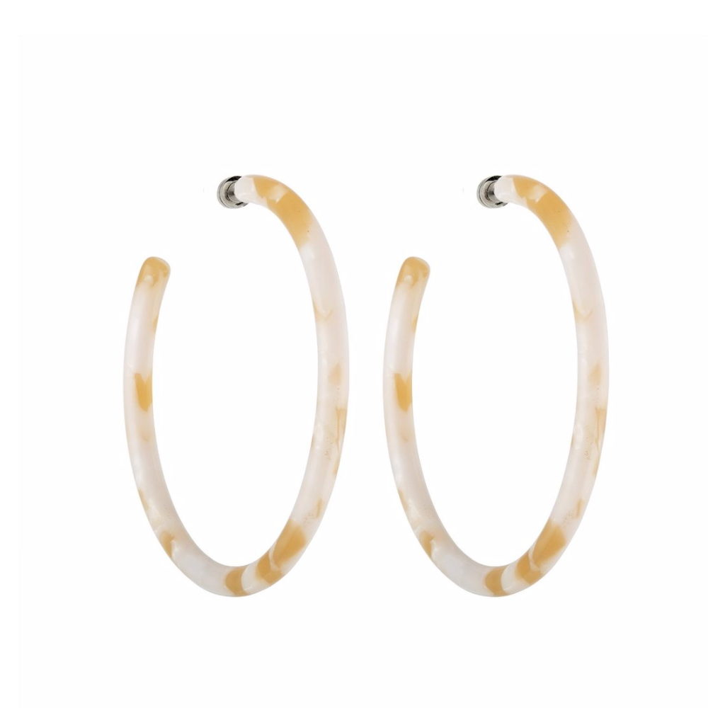 Large Taupe Shell Hoops