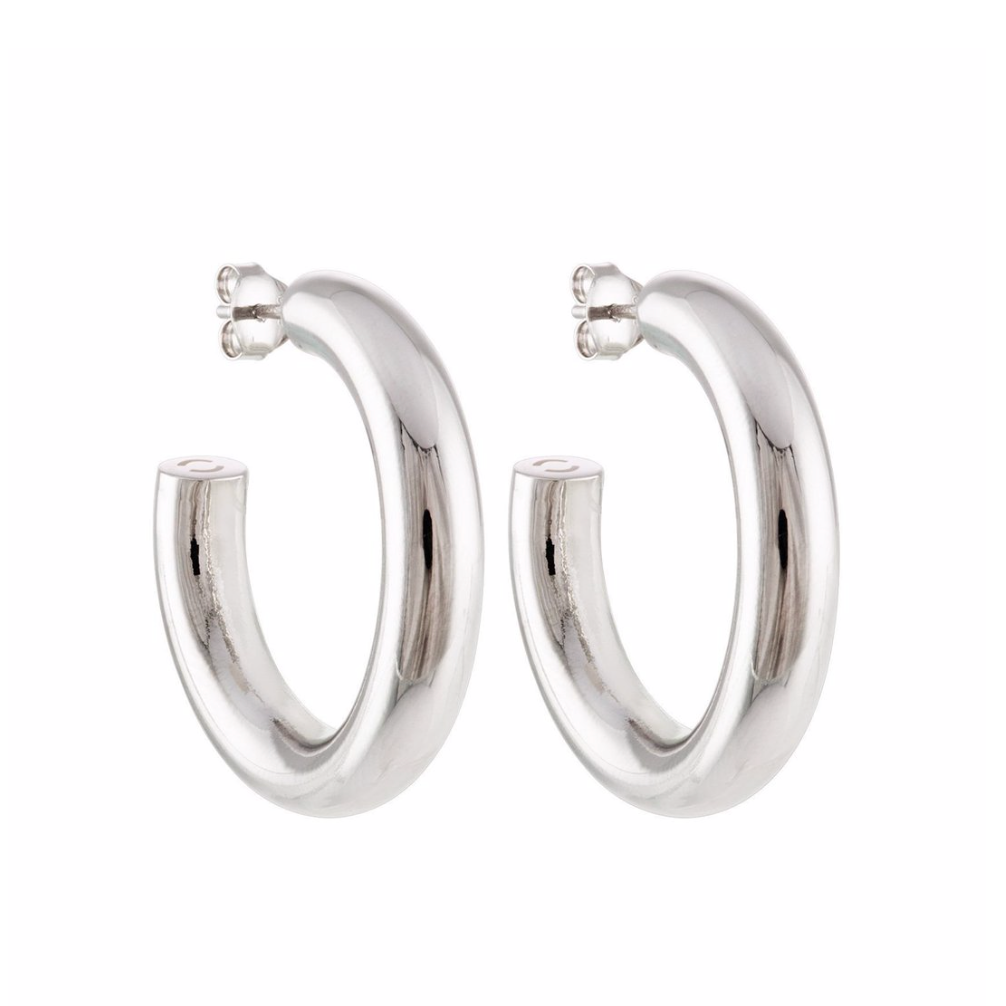"Perfect 1"" Silver Hoops"