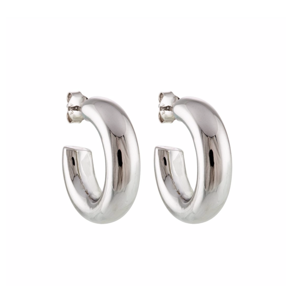 "Perfect .75"" Silver Hoops"