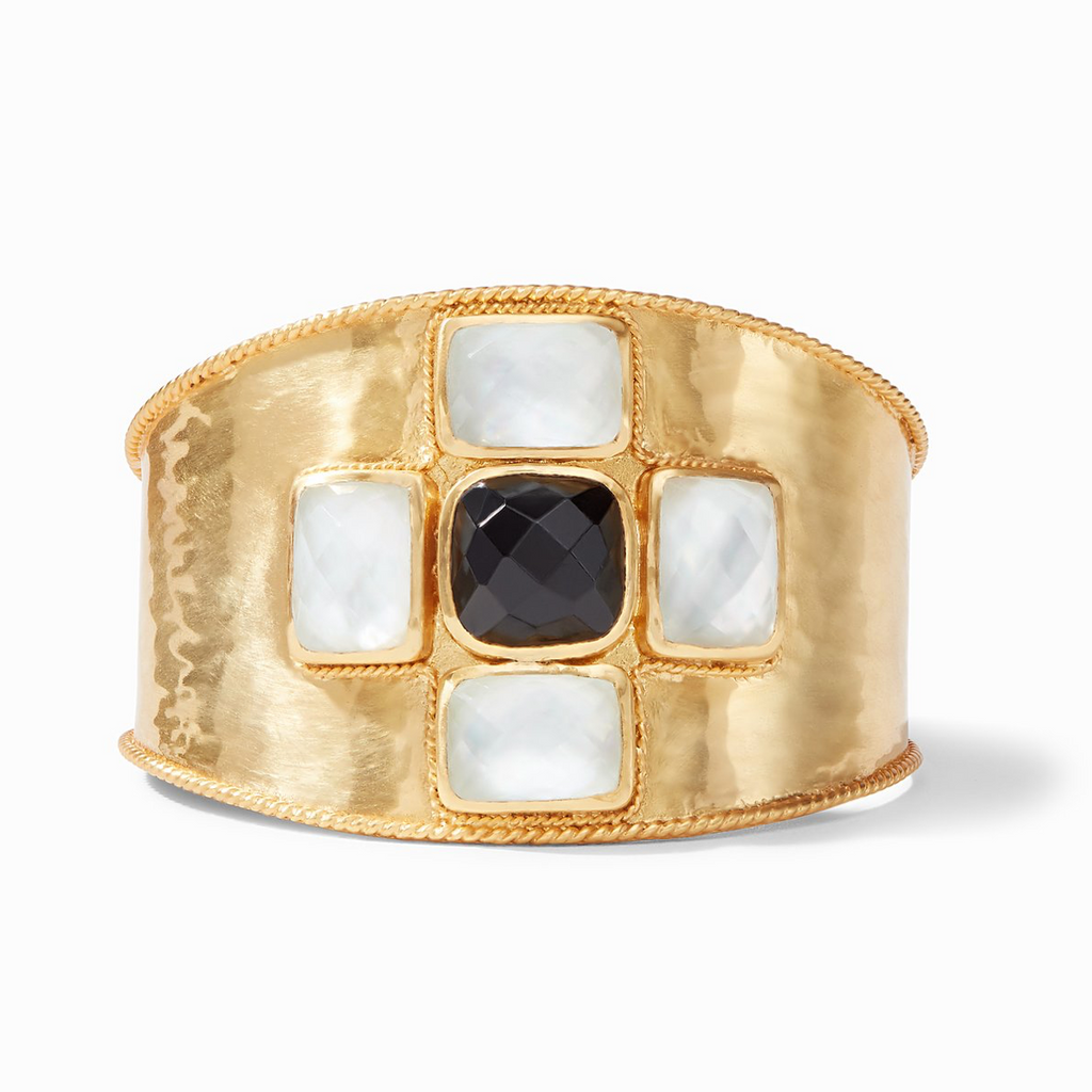 Julie Vos Savoy Cuff, Iridescent Clear Crystal and Obsidian Black