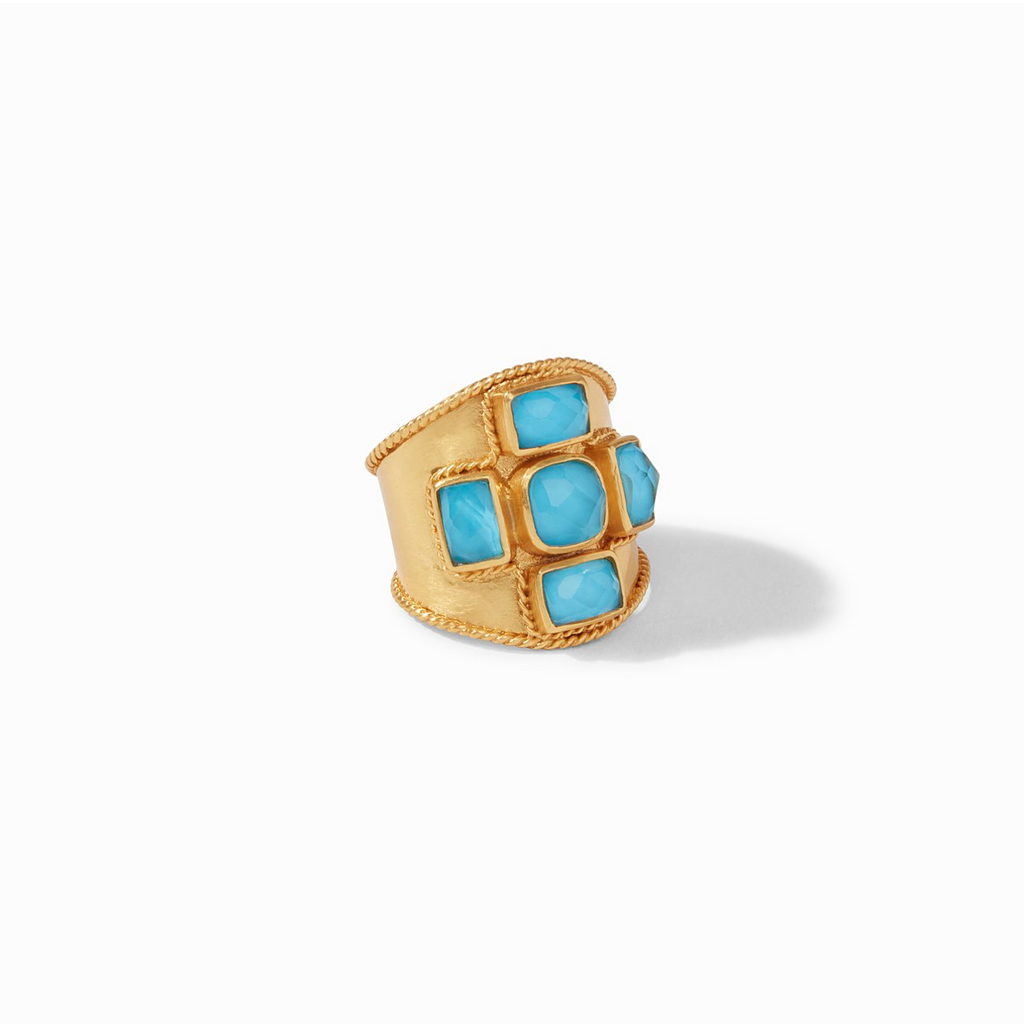 Julie Vos Savoy Statement Ring, Iridescent Pacific Blue