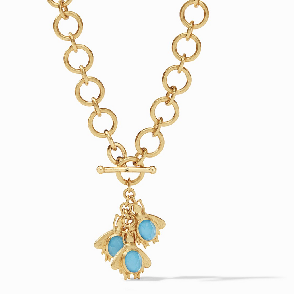 Julie Vos Bee Charm Necklace, Iridescent Pacific Blue and Iridescent Clear Crystal