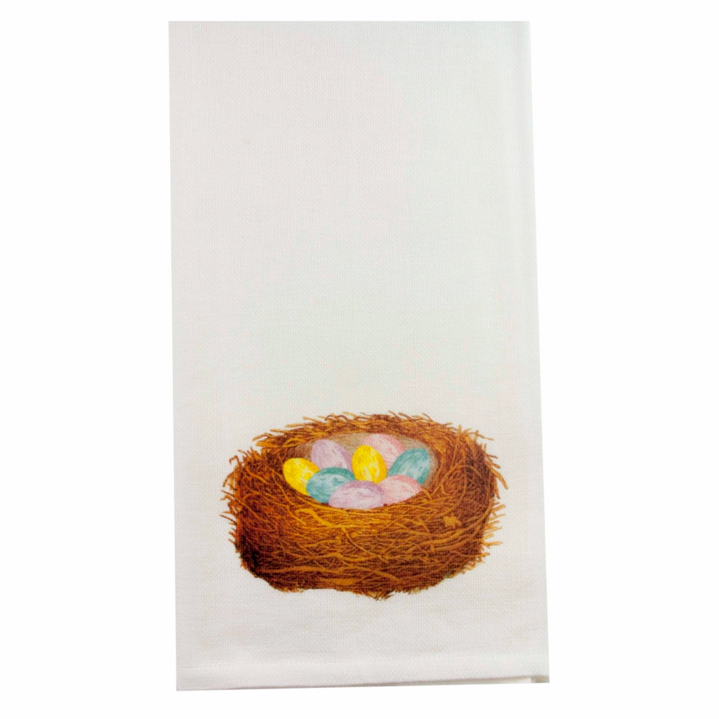 Nest with Colorful Eggs Dishtowel