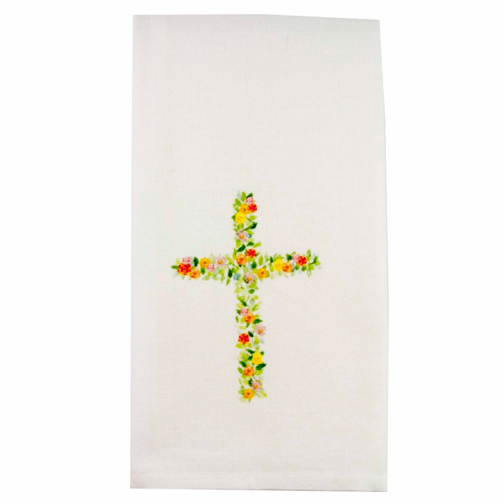 Floral Cross Dishtowel