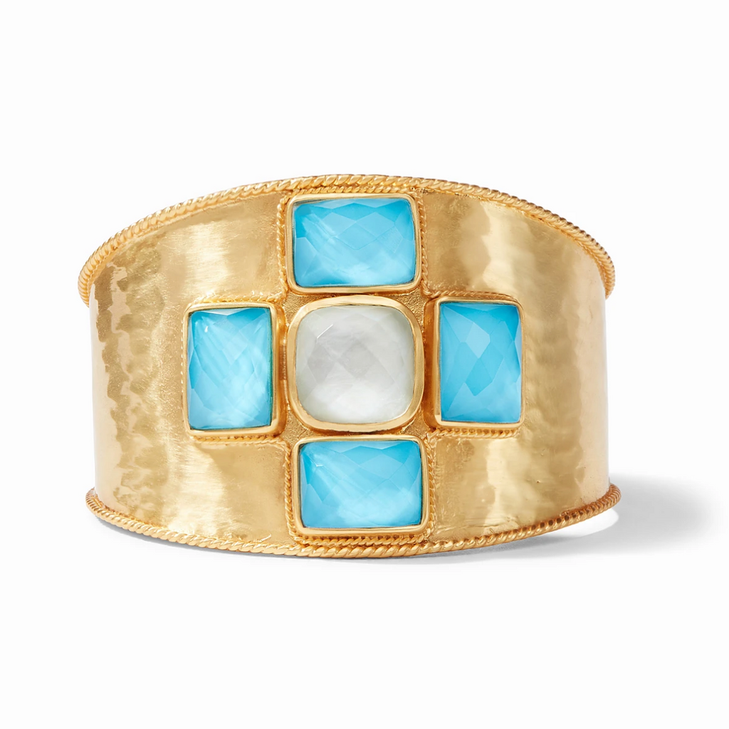 Julie Vos Savoy Cuff, Iridescent Clear Crystal and Pacific Blue