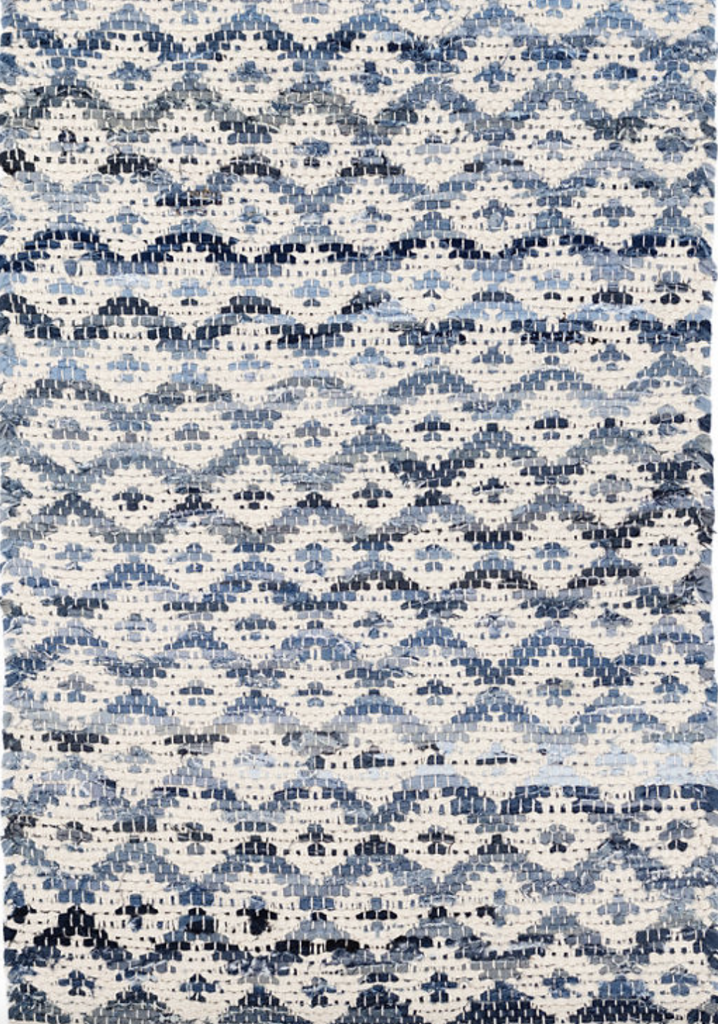 Dash & Albert Ivory Diamond Woven Cotton Denim Rag Rug