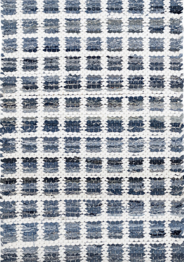 Dash & Albert Denim Rag Squares Woven Cotton Rag Rug