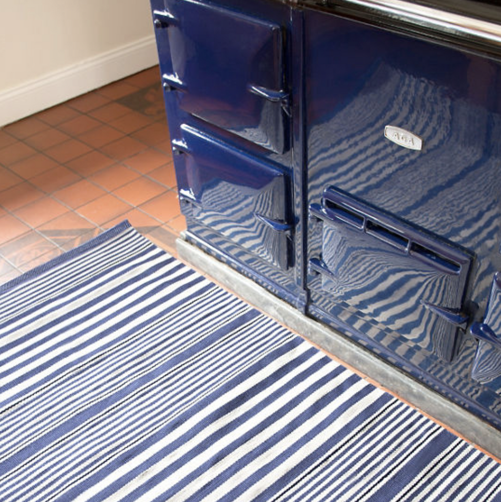 Dash & Albert Rugby Stripe Denim Indoor/Outdoor Rug