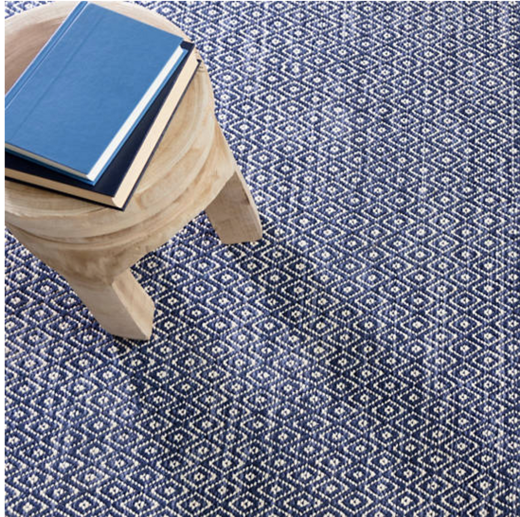 Dash & Albert Diamond Chenille Blue Woven Cotton Rug