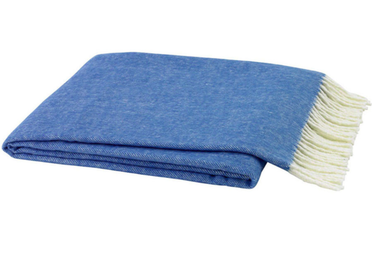 Italian Herringbone Marina Blue Throw Blanket