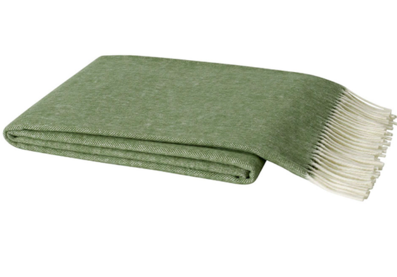 Italian Herringbone Olive Green Throw Blanket