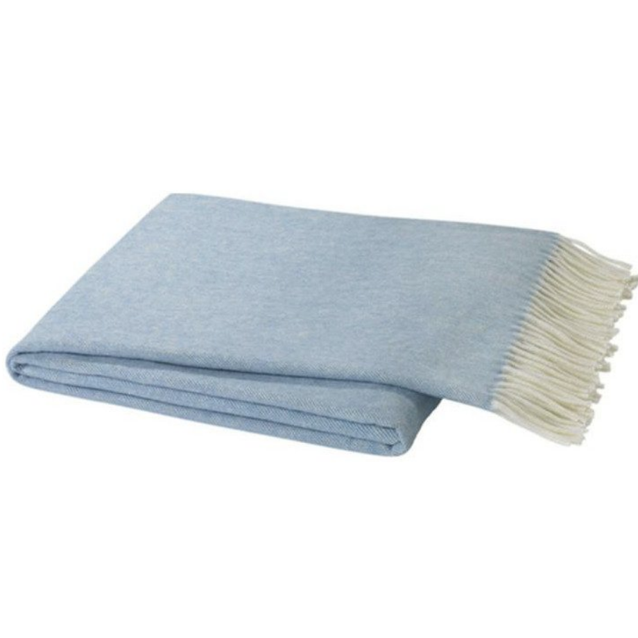 Italian Herringbone Denim Blue Throw