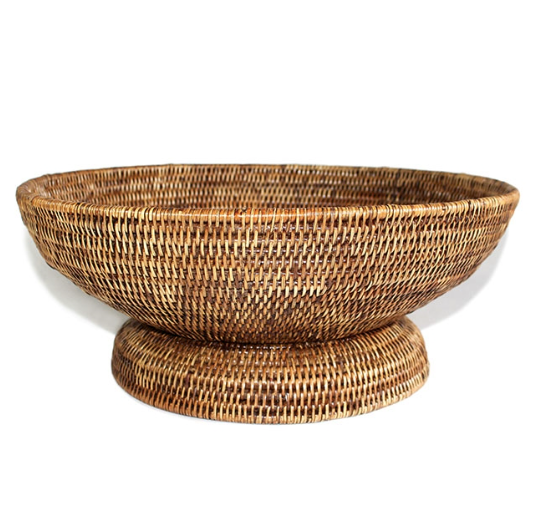 Antique Brown Rattan Round Basket / Bowl