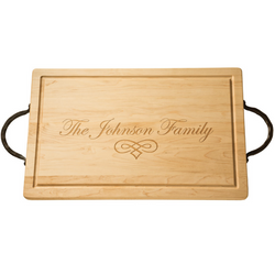 Large Personalized Rectangle Maple Board with Twisted Metal Handles