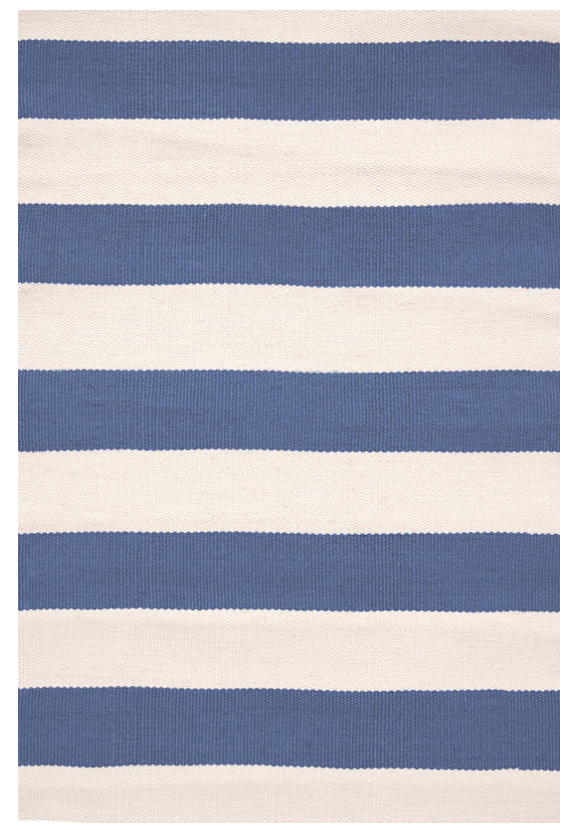Dash & Albert Catamaran Stripe Denim & Ivory Indoor/ Outdoor Rug