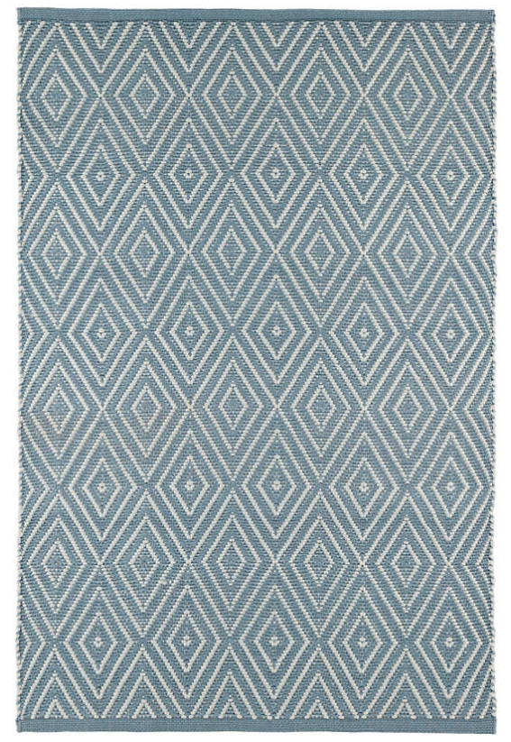 Dash & Albert Diamond Slate & Light Blue Indoor/ Outdoor Rug