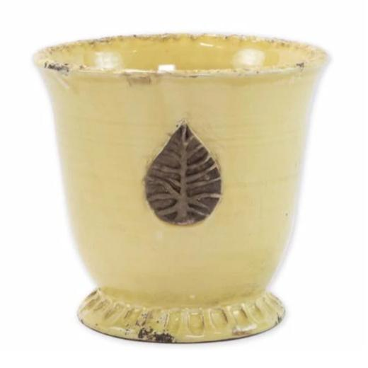 VIETRI Rustic Garden Yellow Medium Cachepot with Leaf