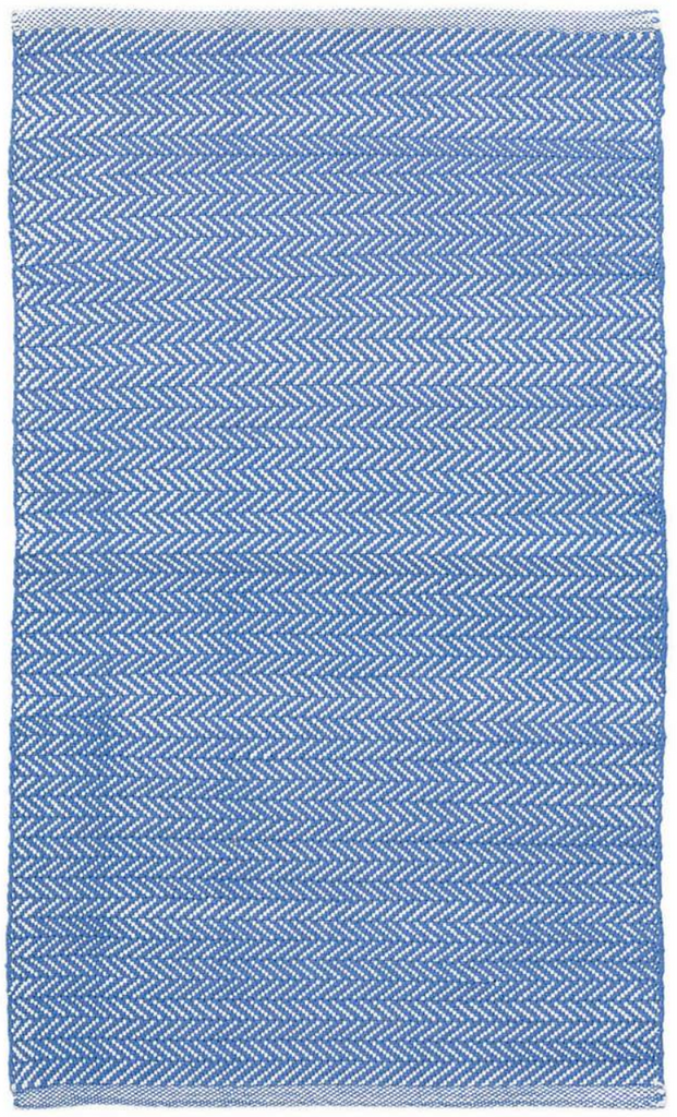 Dash & Albert Herringbone French Blue & White Indoor/ Outdoor Rug