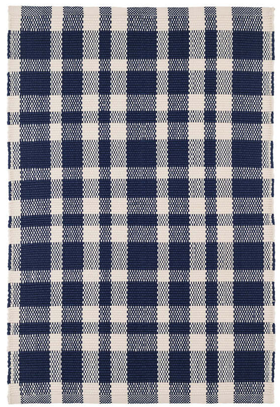 Dash & Albert Tattersall Indigo Indoor/Outdoor Rug