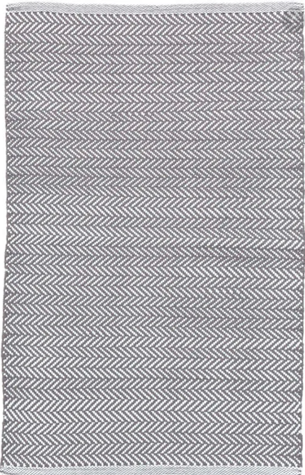 Dash & Albert Herringbone Shale & White Indoor/ Outdoor Rug